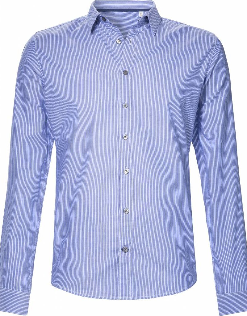 BETTER.. Clothing Blauw gestreept, slimfit overhemd van biologisch katoen