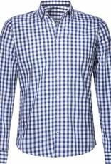 BETTER.. Clothing Blauw geruit, slimfit overhemd van biologisch katoen