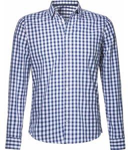 Blauw geruit, slimfit overhemd