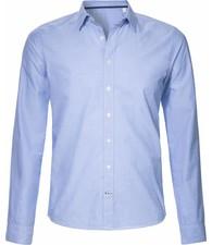 BETTER.. Clothing Blauw fil-a-fil, biologisch katoenen, slimfit overhemd
