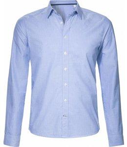 Blauw fil-a-fil, slimfit overhemd