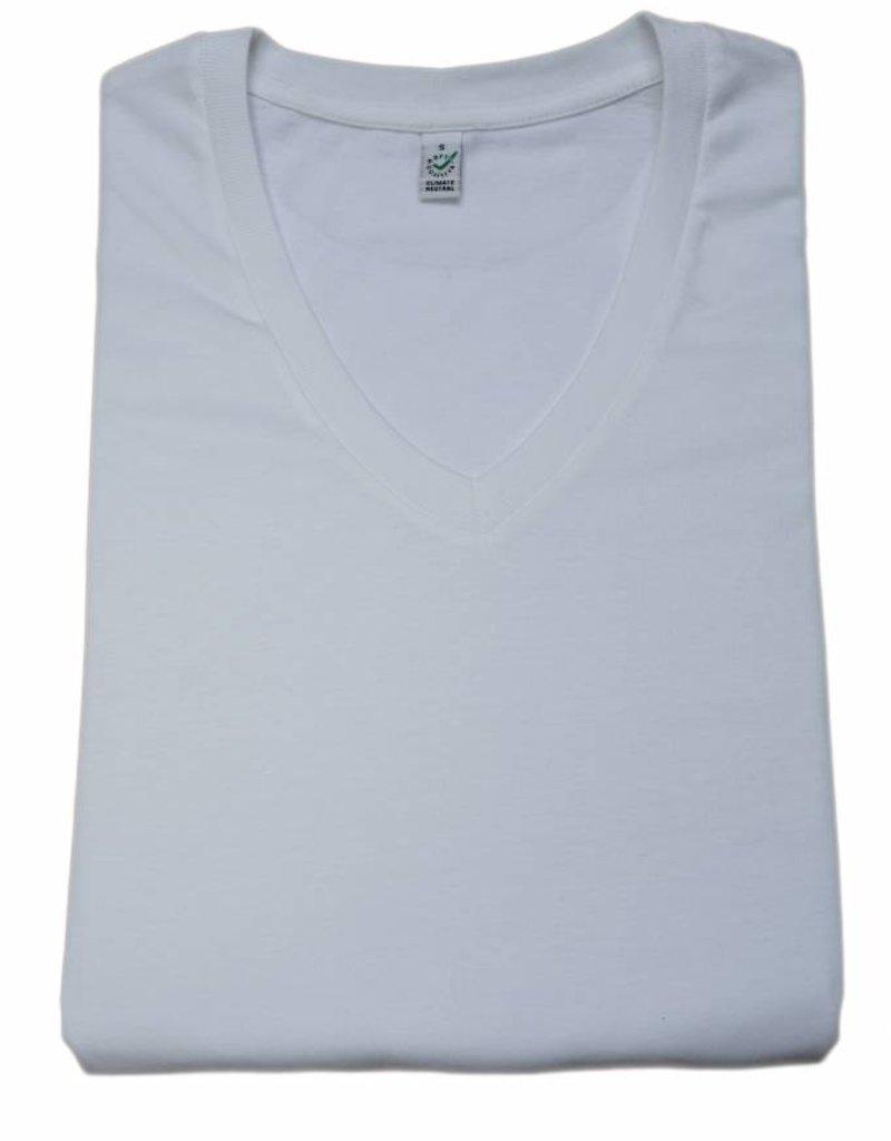 BETTER.. Clothing C02 neutraal, Wit T-shirt met V-hals van biologisch katoen