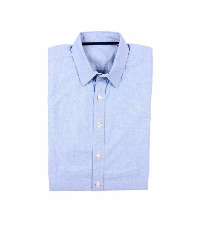 Blauw fil-a-fil, biologisch katoenen, slimfit overhemd from BETTER.. Clothing