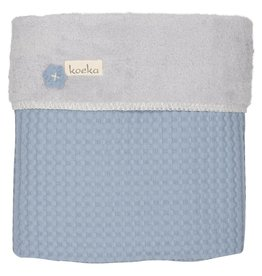 Koeka Ledikantdeken Wafel Teddy Soft Blue/Silver Grey