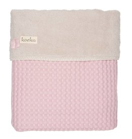 Koeka Ledikantdeken Wafel Teddy Old Baby Pink/Pebble