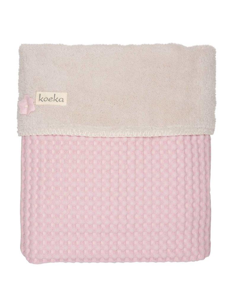 Koeka Ledikantdeken Wafel Teddy Old Baby Pink/Pebble