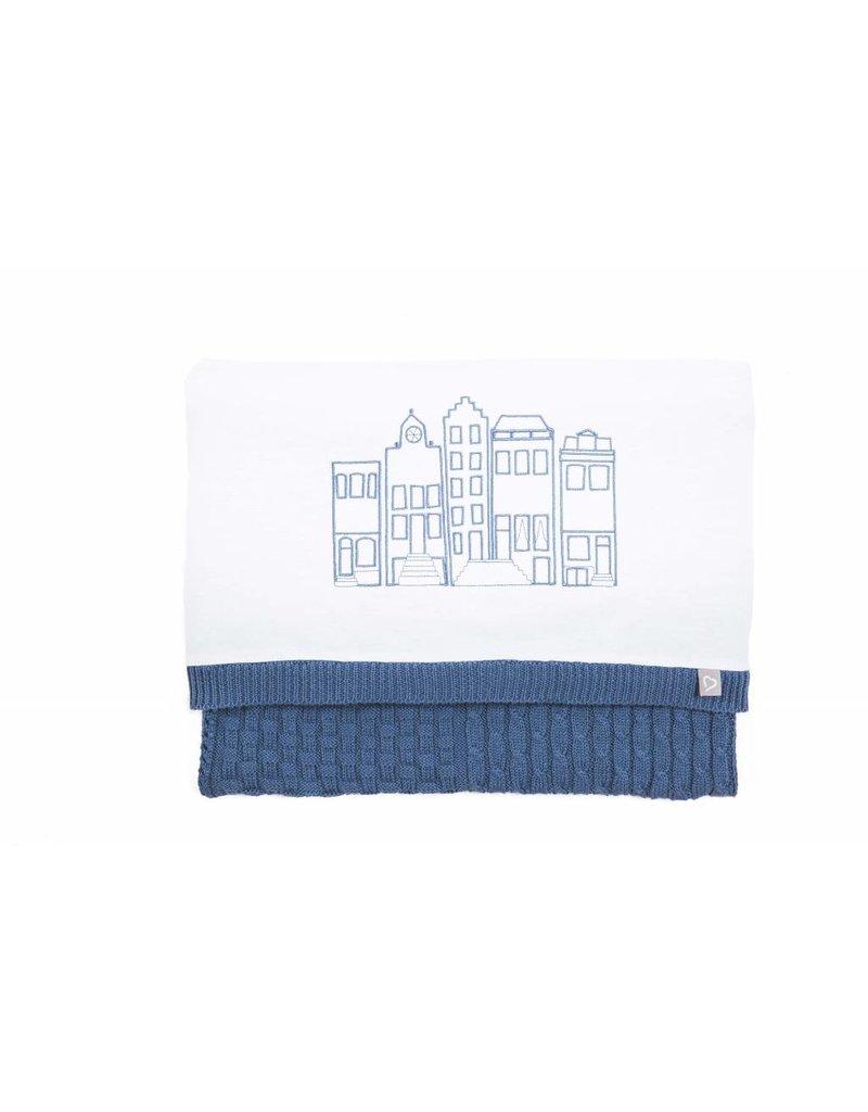Mats & Merthe Ledikantdeken Huisjes Blauw