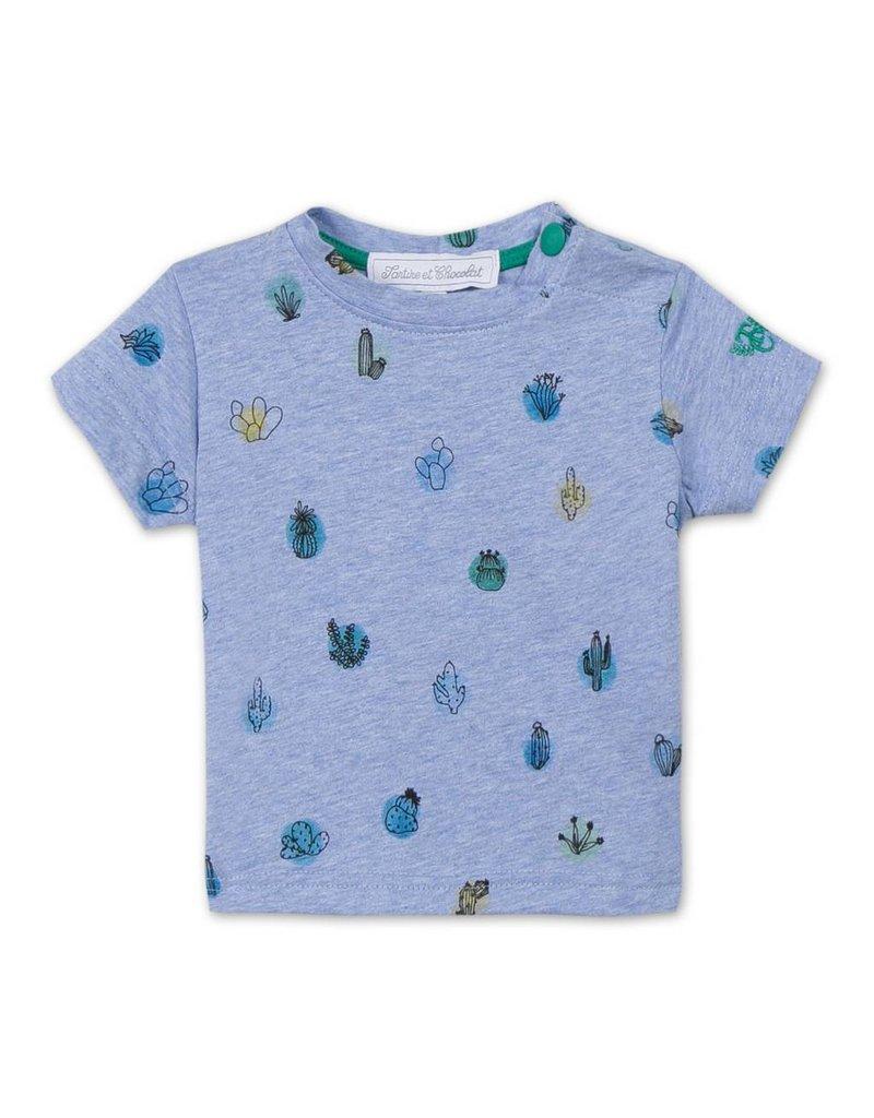 Tartine et Chocolat Blauw t-shirt met cactussen - maat 60 laatste item!