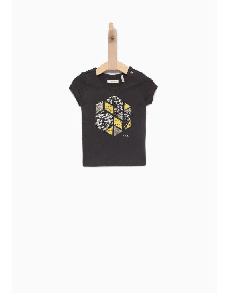 IKKS Blauw t-shirt met gele patches