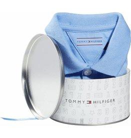 Tommy Hilfiger Lichtblauwe polo romper korte mouw in cadeaublikje - maat 62