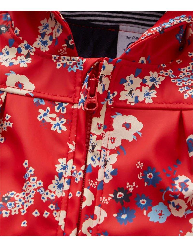 Petit Bateau Rode regenjas met bloemenprint