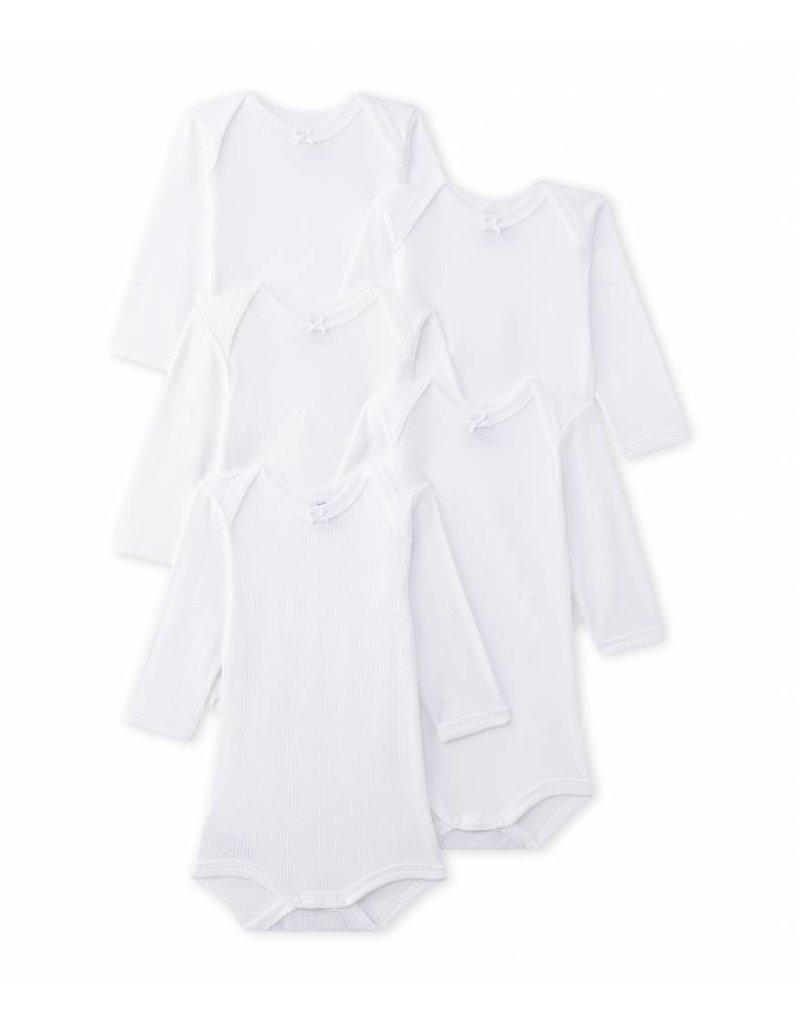 Petit Bateau 5-pack rompers wit lange mouwen voor meisjes