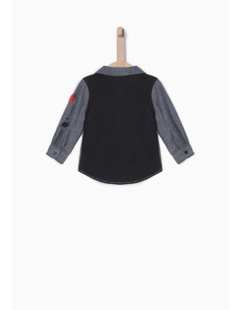 IKKS Blauw overhemd in twee materialen