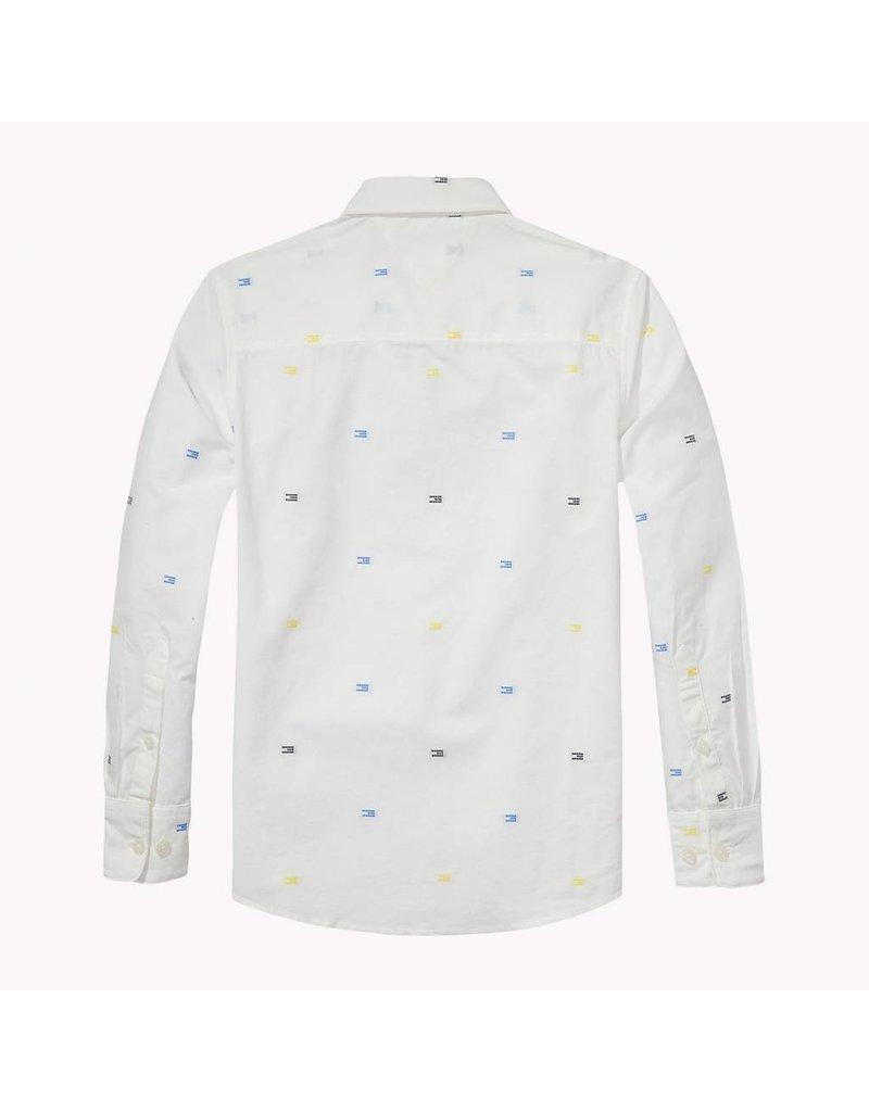 Tommy Hilfiger Wit overhemd met geel/blauw logo print