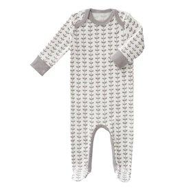 Fresk Pyjama Leaves Grey met voet - 0-3mnd laatste item!