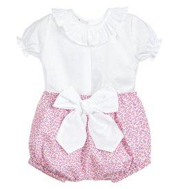 Babidu Set van mooi wit blousje met bloomer in liberty fabric met witte strik