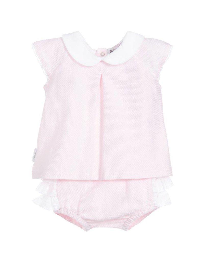 Babidu Mooi roze setje van shirtje met kraag en bloomer broekje