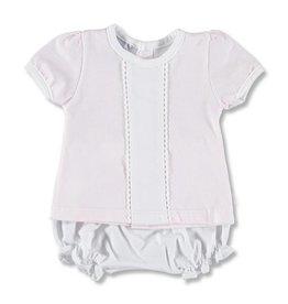 Babidu Setje van roze-wit gestreept shirtje met wit bloomer broekje