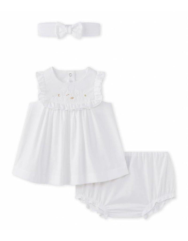 Petit Bateau 3-delig setje wit jurkje, bloomer & haarbandje