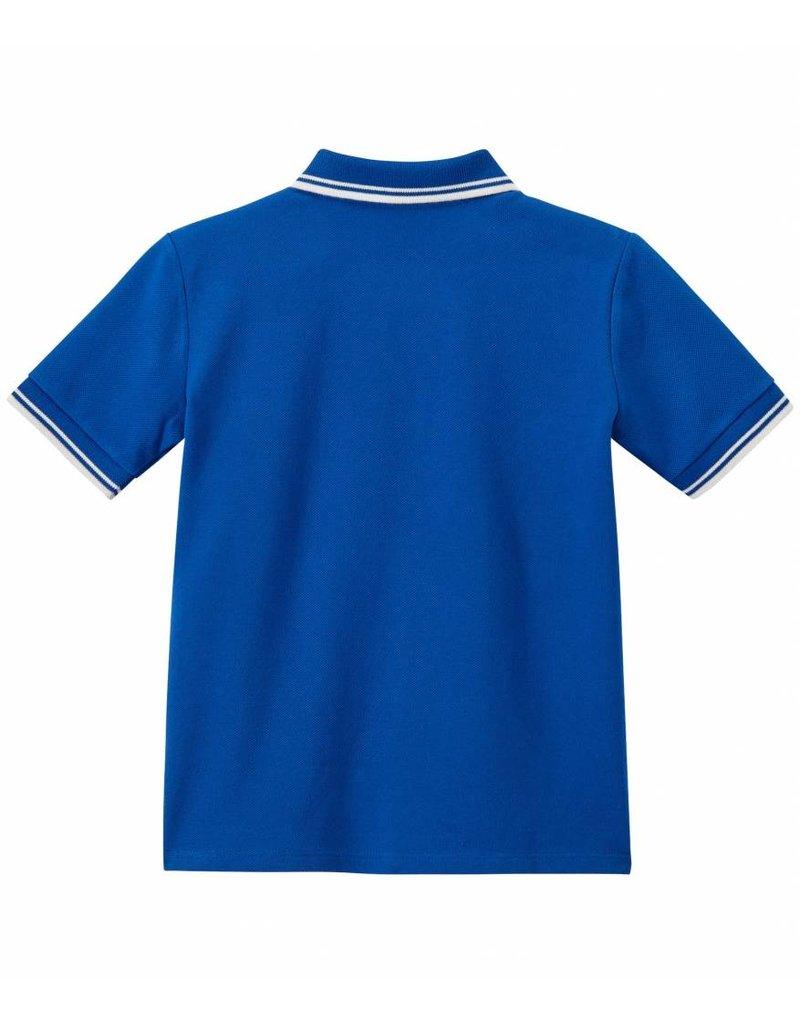 Petit Bateau Blauwe poloshirt met korte mouwen