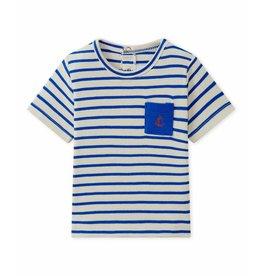 Petit Bateau T-shirt blauw gestreept met zakje op borst
