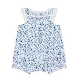 Petit Bateau Salopette blauwe bloemetjes & vogeltjes - mt 54 laatste item!