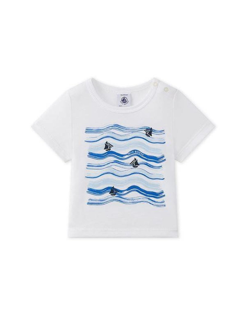 Petit Bateau T-shirt met blauwe golven en zeilbootjes