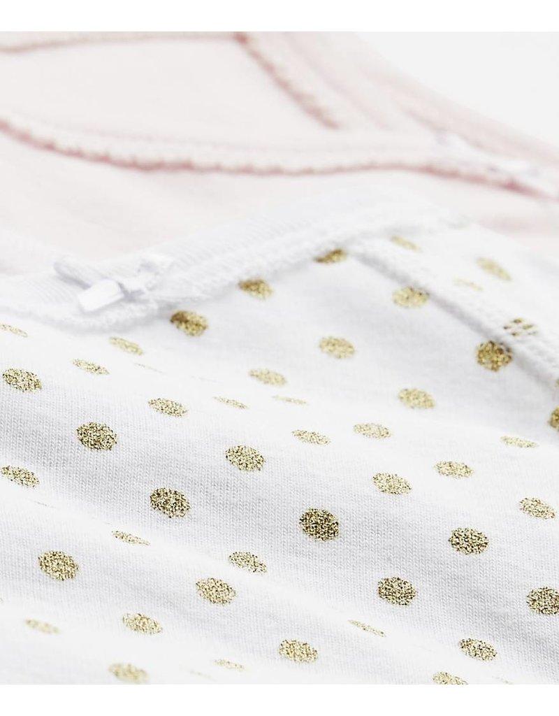 Petit Bateau 2-pack rompers overslag lange mouw roze/wit gouden stippen