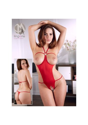 Mandy mystery Line Open haltermodel body S-L - rood