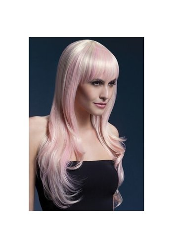Fever Fever lange blonde pruik met roze highlights