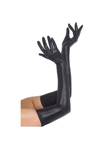 Fever Zwarte lange wetlook handschoenen