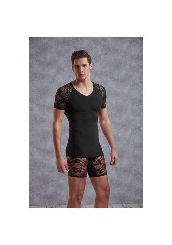 Doreanse T-Shirt Met Netstof Mouwtjes - Zwart