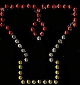 Niiniix Oeteldonk strass applicatie alfabet rood, wit, geel 4cm hoog open letter Y