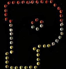 Niiniix Oeteldonk strass applicatie alfabet rood, wit, geel 4cm hoog open letter P