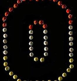 Niiniix Oeteldonk strass applicatie alfabet rood, wit, geel 4cm hoog open letter O