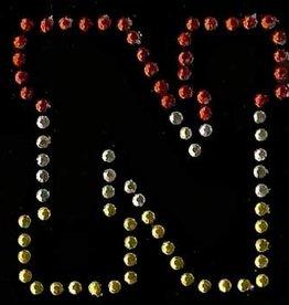 Niiniix Oeteldonk strass applicatie alfabet rood, wit, geel 4cm hoog open letter N
