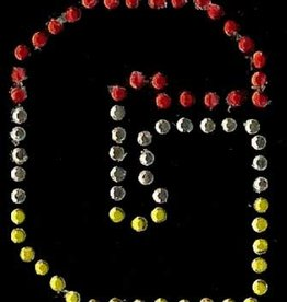 Niiniix Oeteldonk strass applicatie alfabet rood, wit, geel 4cm hoog open letter G