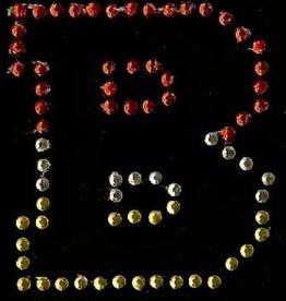 Niiniix Oeteldonk strass applicatie alfabet rood, wit, geel 4cm hoog open letter B