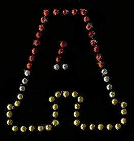 Niiniix Oeteldonk strass applicatie alfabet rood, wit, geel 4cm hoog open letter A