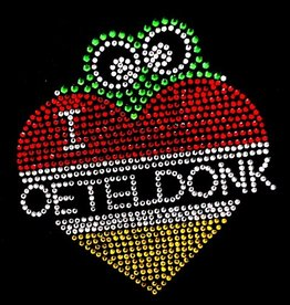 Niiniix Oeteldonk strass strijkembleem Oetel in I love Oeteldonk hart  9,5cmx11cm