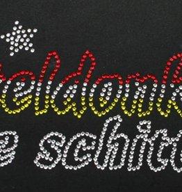 Niiniix Oeteldonk strass strijkembleem tekst Oeteldonk ge schittert sierlijk met sterren rood, wit, geel 24cmx9cm
