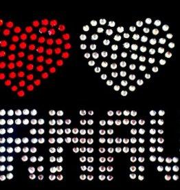 Niiniix Oeteldonk strass applicatie I Love Carnaval rood, wit, geel hartjes Oeteldonk