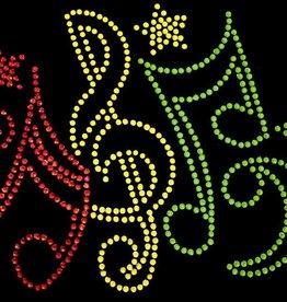 Niiniix strass applicatie muzieknoten open groot rood,geel,groen 19x14cm