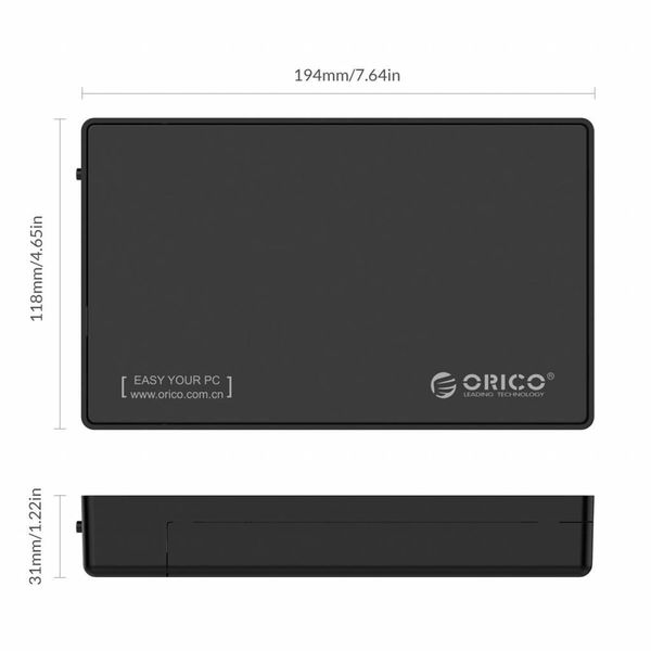 Orico Hard Drive Housing 3.5 inch / Metal & Plastic / HDD / SSD / USB3.0 / Black