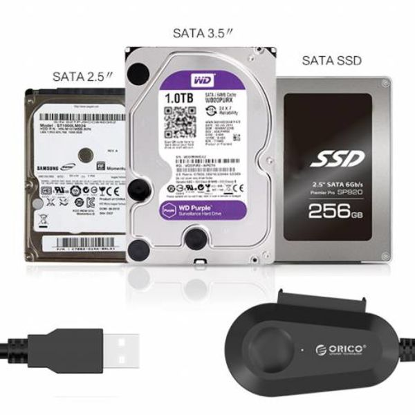Orico USB 3.0 to SATA HDD and SSD Adapter Cable Converter 2.5 and 3.5 inch SATA drives 5Gbps, SATA I, II and III