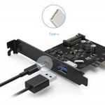 Orico 2 Port USB 3.1 Gene 2 + Typ-C-PCIe-Karte (10 Gbps) mit 1x USB-A und 1x USB Typ C C