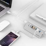 Orico 7 Port USB 3.0 Hub Aluminium 7-Port Hub High Speed 5Gbps einschließlich 12V Power Adapter