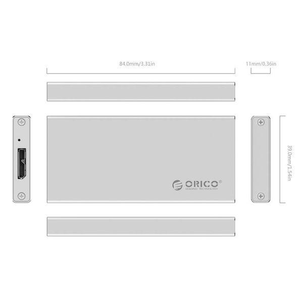 Orico boîtier disque dur USB 3.0 / Aluminium / M-SATA / SSD / Micro-B / Vis / Argent