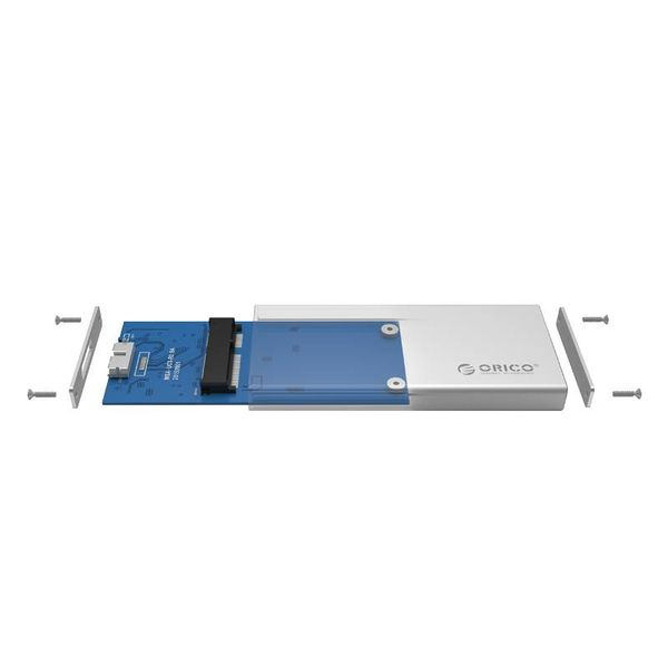 Orico Festplattengehäuse USB 3.0 / Aluminium / M-SATA / SSD / Micro-B / Schrauben / Silber