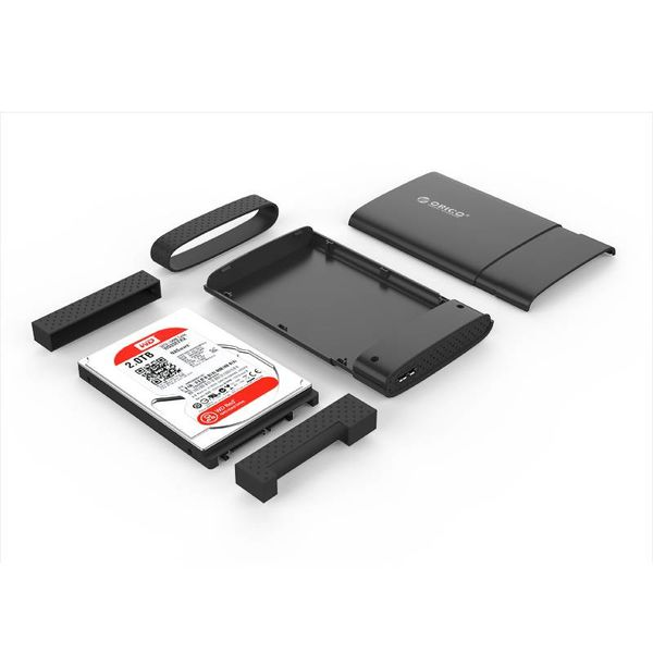 Orico Hard Drive Enclosure 2.5 inch / Plastic / Grip / Micro-B connector / HDD / SSD / USB3.0 / Black
